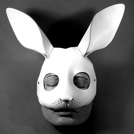 White rabbit leather mask